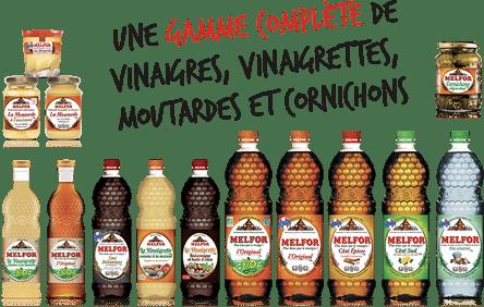Une gamme complète de vinaigres, vinaigrettes, moutardes et crème